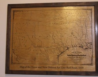 Historical map--Texas and New Orleans Air Line Rail Road, engraved on wood --FREE SHIPPING!--