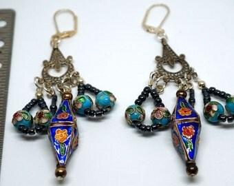 OOAK Blue cloisonne and glass bead earrings