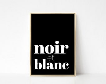 Noir,Printable Art,Printable Wall Art Print,Typography,Wall Print Quote,Minimal Print,Black And White Print,Digital Print,Instant Download