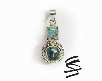 Apatite Necklace Green Stone Silver Pendant Apatite Jewelry Green Gemstone Necklace Green Gem Charm Natural Apatite Stone Jewelry Boho Gift