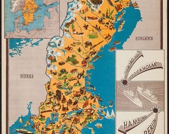 Vintage  Sweden Tourism Poster 2 A3 Print