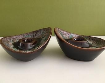 Vintage Ceramic Glazed Candlestick Holders/Vintage Pottery