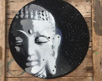 Buddha - Spray paint wall art on vinyl, Hand cut stencil art