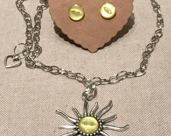 Sun Charm and Button Necklace and Earring Set