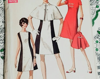 1969 Simplicity Misses A Line Sheath Dress With Capelet Size 12 UNCUT FF Sewing Pattern ReTrO Classy!