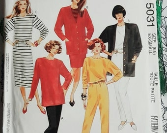 1990 McCall's 5031 Misses Knit Wardrobe Size XS 6-8 Uncut FF Sewing Pattern ReTrO Office!