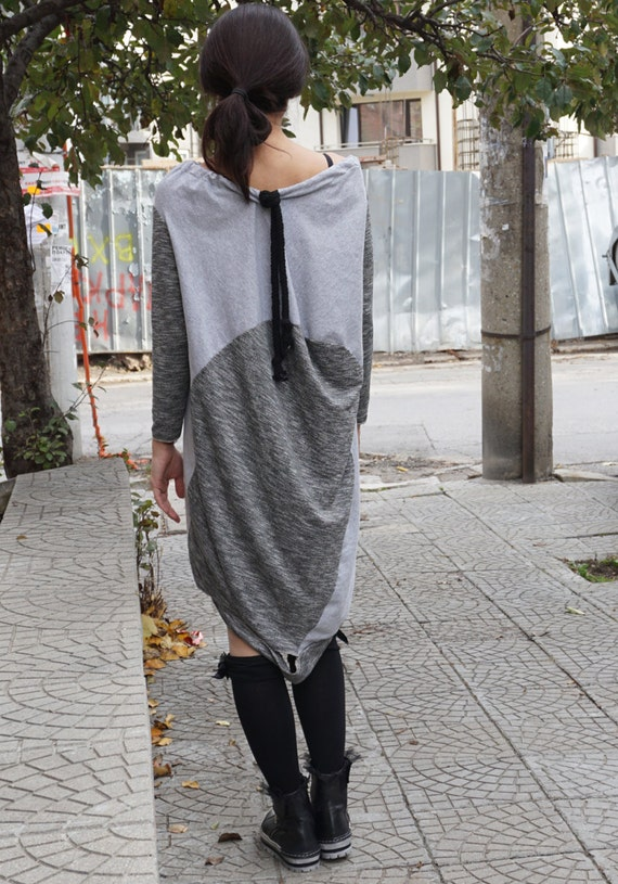 Asymmetric Flattering Grey Cotton Dress Tunic / Deconstructed Oversized Loose Dress Tunic with Robe Necklace / Alternative Dress Tunic