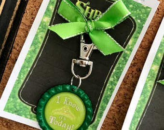 SHREK Musical, Princess Fiona Bottle Cap Purse, Backpack, Key Ring Clip, Musical Theatre Jewelry