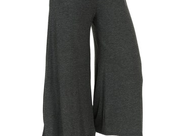 Elastic Waist Culottes Pants Charcoal