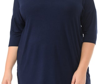 Solid Relaxed Tunic Plus Navy