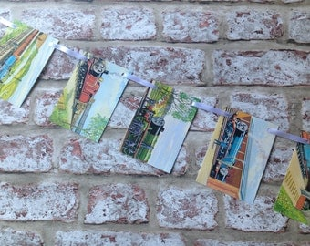 Vintage Thomas the Tank engine colourful paper bunting garland - train boy recycled book pages