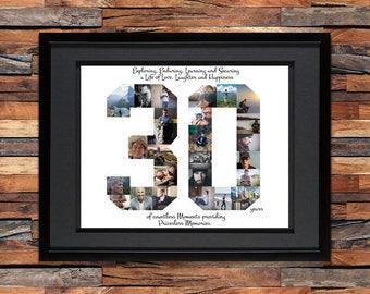 30th Birthday/Anniversary Photo Collage - 30th Birthday Centerpiece - 30th Birthday Gift - 30th Anniversary Gifts - Custom Photo Collage