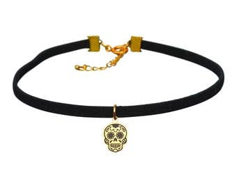 Choker Necklace - Day of the Dead Choker Necklace - Gold Sugar Skull Necklace - Silver Skull