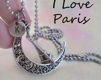 Eiffel Tower Necklace Filigree Crescent Moon w-Letter Charm of Your Choice, Birthday Gift, I Love Paris, J'aime Paris, I Love France