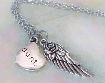 Aunt Memorial Necklace, Engraved Aunt Heart & Angel Wing, Grief Gift, Forever in My Heart, Protected by Angels, Bereavement Gift, Aunt Loss