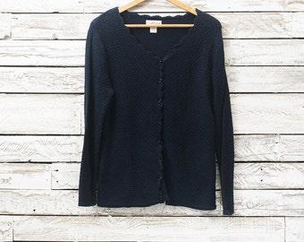 Vintage dark blue cardigan | Women cardigan | Cotton cardigan | Women sweater | Women blue cotton sweater | Carroll Reed
