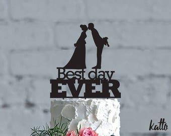 Wedding cake topper, Best Day Ever Cake Topper, Cake Topper, Wedding Cake Topper, Centerpiece, Bride and Groom cake topper, kiss cake topper