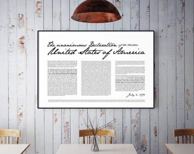 Declaration of Independence- Print 24x36""