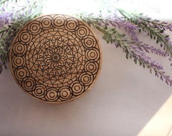 Wood Burned Mandala Trinket Box