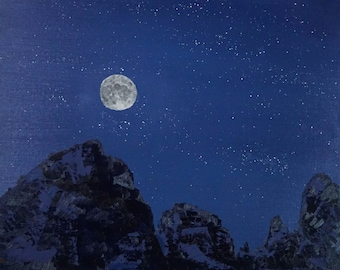 """Moonlit Mountains original oil painting contemporary landscape moon night sky by Sarah Lynch 16""""x20"""""""