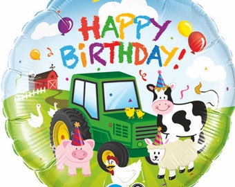 Barnyard Party Mylar Balloon, Tractor Balloon, Farm Animals Birthday Party Balloons, Barnyard Birthday Party Decorations