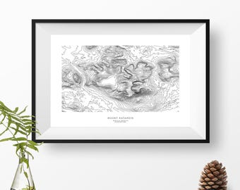 Mount Katahdin, Maine | Topographic Print, Contour Map, Map Art | Home or Office Decor, Gift for Wilderness Lover, Camper, or Hiker