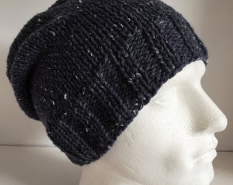 Mens Blue Knitted Hat, Unisex Slouchy Beanie, Airforce Blue Wool Hat, Wool Gifts for Men, Mens Winter Hat, Valentine Hand Knit Gifts