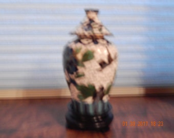 Vintage small Cloisonne Vase with Lid, on wood stand