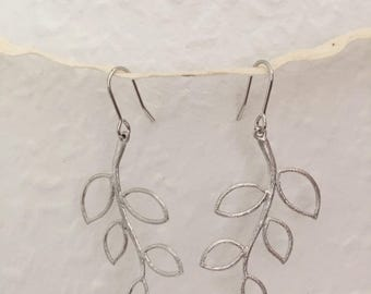 Silver earrings branch with leaves, boho earrings, precious