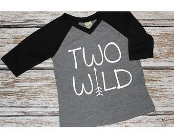 Boys Two Wild Raglan Shirt, Two Wild Birthday Shirt, Second Birthday Shirt