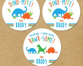 Dinosaur Valentines Day Stickers, Personalized Dinosaur Stickers, Dinosaur  Valentine Stickers
