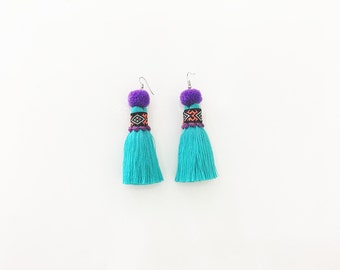 Cool Tassel Earring With Embroidered Lace & Tiny Pompom