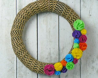 Felt Flower wreath - Burlap wreath - Front Door wreath - Spring Wreath - Summer wreath