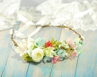 Blue pink flower crown Wedding flower crown Flower crown Girl flower crown Flower headband Bridal floral crown Rustic Floral Wreath Weddings