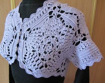 Lace bolero,  lilac crochet bolero, cotton bolero jacket, crochet bolero, handknitted bolero
