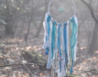 Large tree of life dream catcher pale green and white