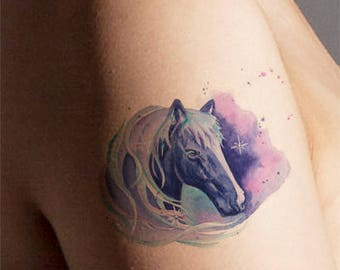 Temporary Tattoo-Watercolor Tattoo-Horse Tattoo-Mystical Tattoo-Gifts for Women