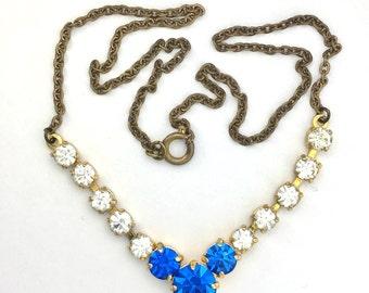 Vintage Royal Blue Paste V-shape Necklace