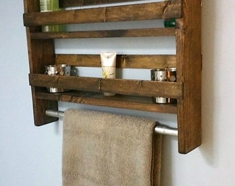 Rustic Bathroom Shelf w/ Towel Bar / Wood / Storage