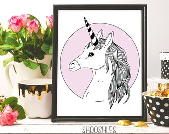 Unicorn print, Unicorn wall art, Ink art, Line art, Instant download 8x10, Artwork, Unicorn printable art, Horse print, digital art, doodle