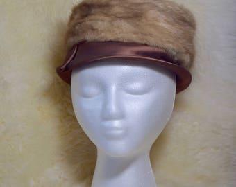 Vintage Howard Albert New York Blonde Mink Pillbox Hat