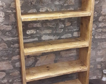 Handmade reclaimed wood bookcase shelves rustic