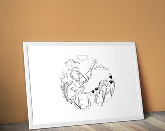 Figure A3 - PRINT - Illustration N * 2 the Heron & the frog