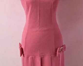 1960's Mod baby pink dress with pleated skirt and bow deatails  / retro vintage dress