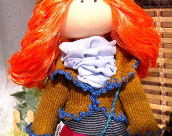 Red-haired doll, Handmade doll, lovely doll, Unique doll, Tilda doll, Girl toys, Fabric doll, Soft doll, decoration, Textile doll, gift idea