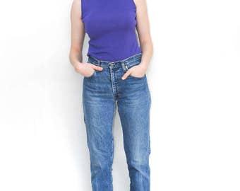 purple sleeveless turtleneck | retro turtleneck tank | 90's style vintage top | purple shirt | size small/medium