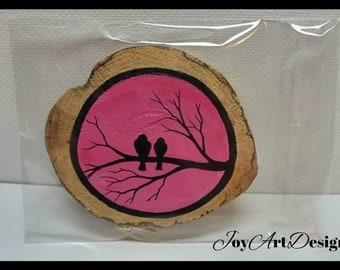 Lovebirds Driftwood Art Wood Ornament Pink Black Magnet Miniature Painting Gift Birds On Branch Silhouette Eco Friendly Unique Kitchen Decor