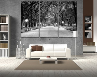 Large Wall BW New York Cityscape Canvas BW Multipanel Canvas Central Park  Canvas Art Large  1-3-4-5 Panel Winter City Print