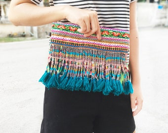Vintage Tassel Bag Hmong Fabric With Leather Strap