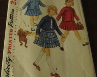 Vintage 1950s Simplicity Pattern #1747 Child's Skirt and Jacket Size 6